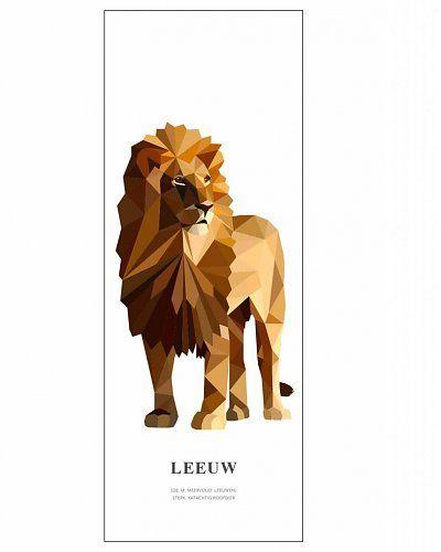 Laat de leeuw in je los! Op deze behangposter staat een geometrische illustratie van een leeuw met daaronder de betekenis van het woord in woordenboekstijl. | Design: Tinkle&Cherry |
