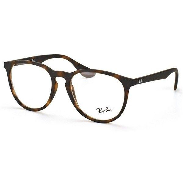 Ray-Ban RX 7046 5365 Rubber Havana Eyeglasses ($93) ❤ liked on Polyvore featuring accessories, eyewear, eyeglasses, lens glasses, ray-ban, ray ban glasses, rectangular eyeglasses and rectangle eyeglasses