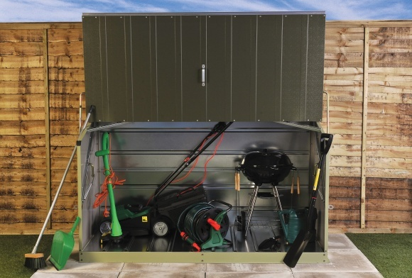 Lawn Mower Shelter : Lawnmower and barbecue bbq store ideal for the storage
