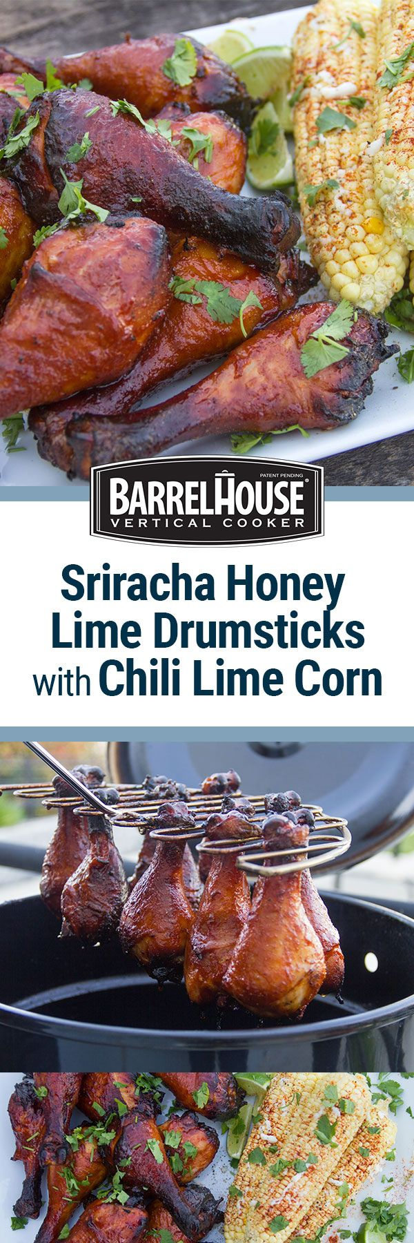 Sweet and spicy Sriracha Honey Lime Chicken Drumsticks paired with Chili Lime Corn are an easy, delicious way to kick up the heat while staying out of it this summer. Smoked in the Barrel House Cooker or on your pellet grill (like Traeger) or offset smoker, this summer bbq chicken recipe is sure to be a hit!