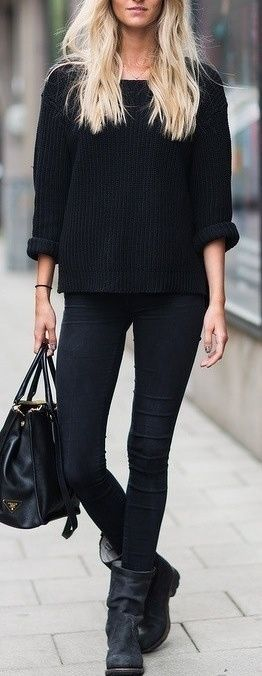 All black outfit: casual black knitted jumper, black skinny jeans and black boots | @andwhatelse