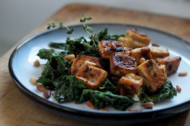 Chili and Lemon Roasted Tofu with Kale & Pine Nuts | Inspiration, Pine ...