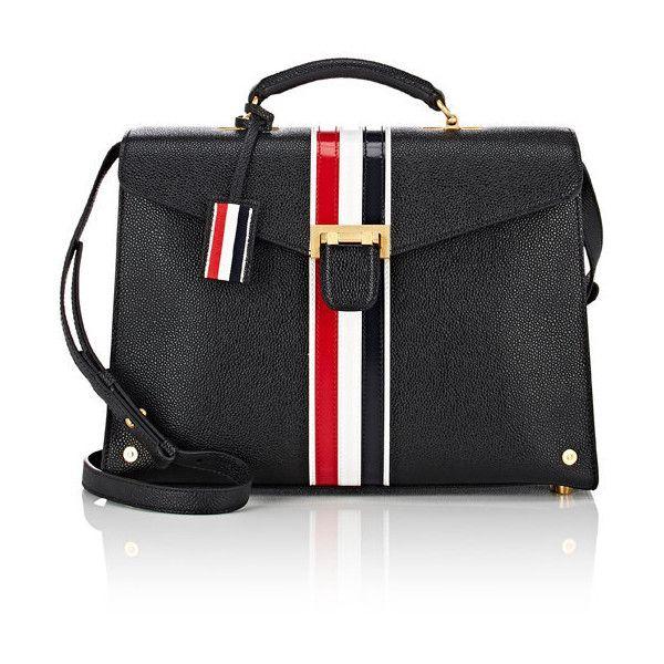 Thom Browne Women's Medium Satchel (38.116.395 IDR) ❤ liked on Polyvore featuring bags, handbags, black, multi color purse, stripe purse, striped handbag, leather purses and multi colored leather handbags
