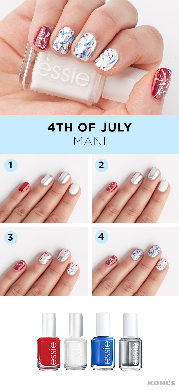 If your manicure isn't red, white and blue, does it even count as the 4th of July? We don't want to find out. A firework-inspired Independence Day manicure is fun, festive and oh-so-easy to do yourself. We used No Place Like Chrome, Butler Please and Really Red from essie to create this all-American mani. Get gorgeous with Kohl's.