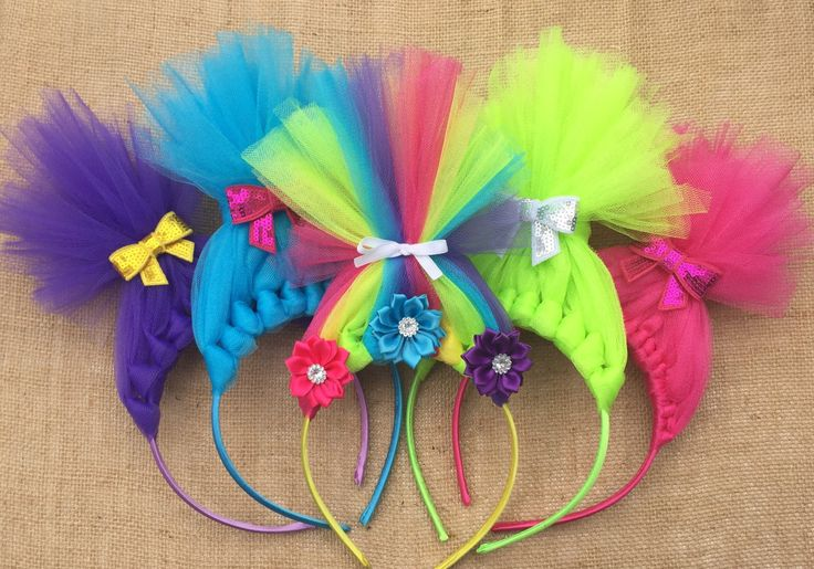 Troll Headband - Troll Headbands - Trolls - Tulle Bow - Trolls Bow - Poppy Inspired Troll Headband - Headband - Troll Crown - Troll Party by BBgiftsandmore on Etsy