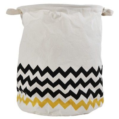 Panière blanche motif zigzag, dim. Ø34xh.42 cm, polyester.