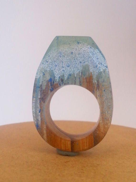 Ring, Rings,  Etsy listing at https://www.etsy.com/listing/506483358/wood-resin-ring-snow-ring-resin-wood