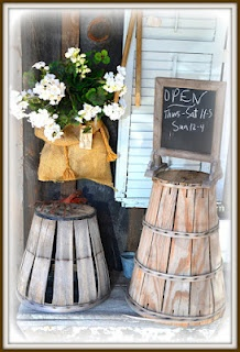 Good use of the bushel baskets for store display