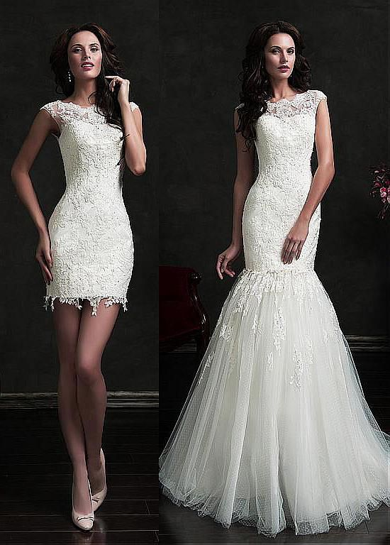 Marvelous Dot Tulle Jewel Neckline 2 in 1 Wedding Dress with Beaded Lace Appliques