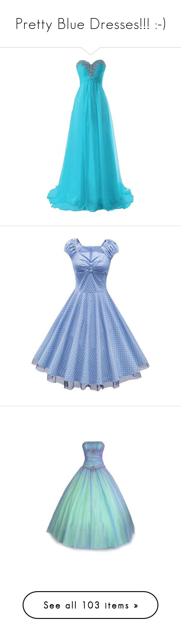 """Pretty Blue Dresses!!! :-)"" by vahrendsen1988 ❤ liked on Polyvore featuring dresses, rosegal, blue dot dress, polka dot dress, cap sleeve cocktail dress, blue party dress, cocktail party dress, gowns, green prom dresses and green formal dresses"