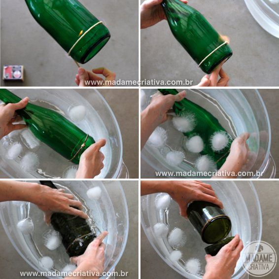 How to make bottle candles port - how to cut bottle with string - Tips and Walkthroughs Photo - DIY - Tutorial - How to make cut botte and l ...