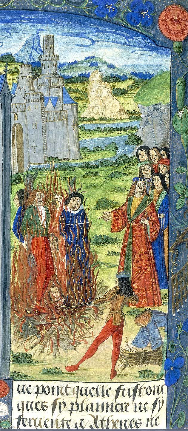 Heretics burned at the stake - The medieval Church struggled aggressively against rebels: Christians who disagreed with the Church's teachings could be physically punished or even killed. Those of other faiths were also treated harshly. Jews who lived within Christian territories were, at best, tolerated, though there were many episodes of extreme anti-Semitism; even after the Jews were expelled from England by Edward I in 1290, they were often used as a figure of hatred. Shelfmark: Royal 20…