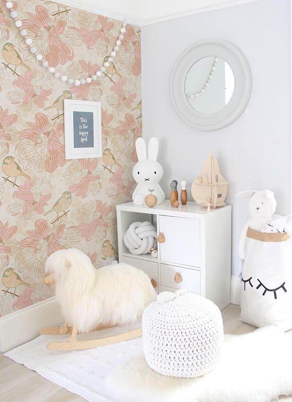 Oiseaux beige amovibles Papier peint – traditionnel – rose pâle Imprimer murale – Sticker mural autocollant – Peel and Stick temporaire # 94   – Baby nursery