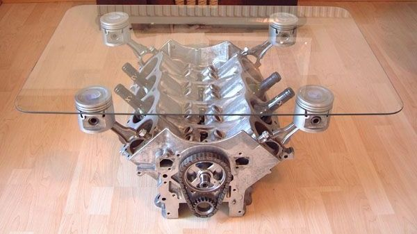 Engine table....Uhhhh WHUT! Yes! #garage #mancave #gameroom