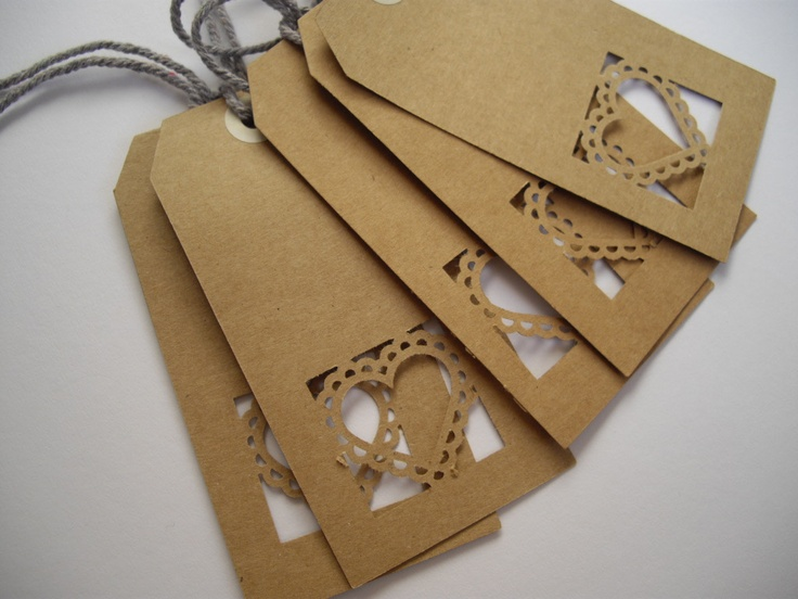Lovely handmade heart brown tags - great for weddings or to use hung on a gift