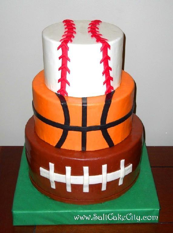 Football, Basketball and Baseball Cake CAKE IDEAS ...