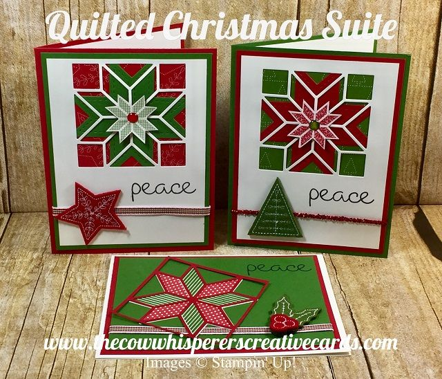 The Cow Whisperer Creative Cards: Quilted Christmas, Christmas Quilt, Stitched Felt Embellishments