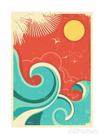 Vintage Tropical Background With Sea Waves And Sun Posters van GeraKTV bij AllPosters.nl