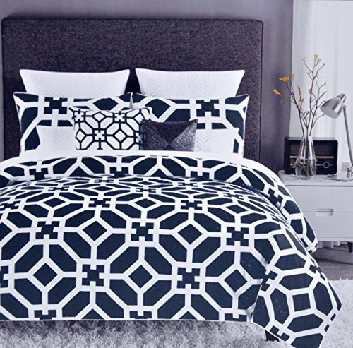 Max Studio Modern Lattice Geometric Pattern 3pc King Duvet