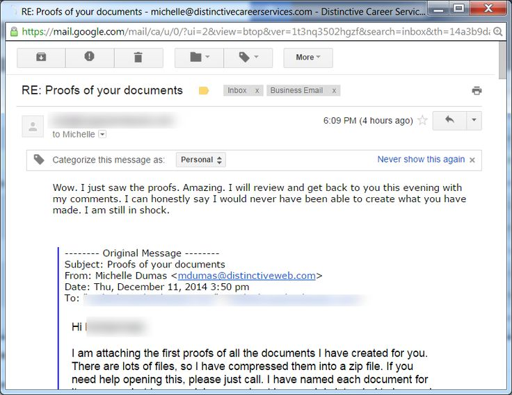 It makes my day when a client responds this way! http://www.100kcareermarketing.com