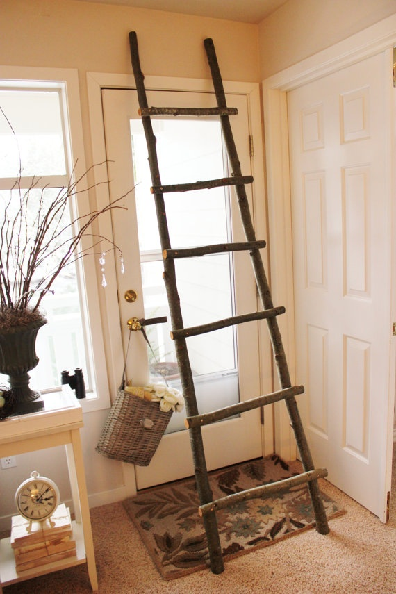 Shabby handmade decorative 6 rung natural wood ladder with twine wrap  I think that I could DIY