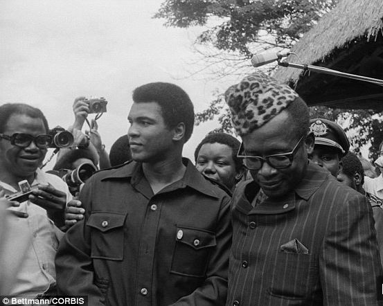 From left to right, Bundini Brown, Muhammad Ali and Joseph Mobutu
