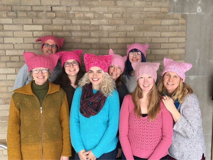 Ladies all knitted their own pussy hats for the Women's March on Washington, 1-21-17 (and across the nation)