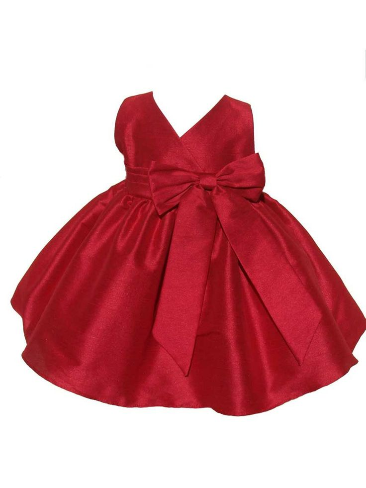 Baby Girl Holiday V-Neck Dress with a Bow