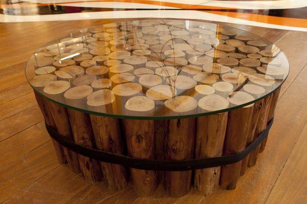 Mesa de troncos naturales. www.singularu.com