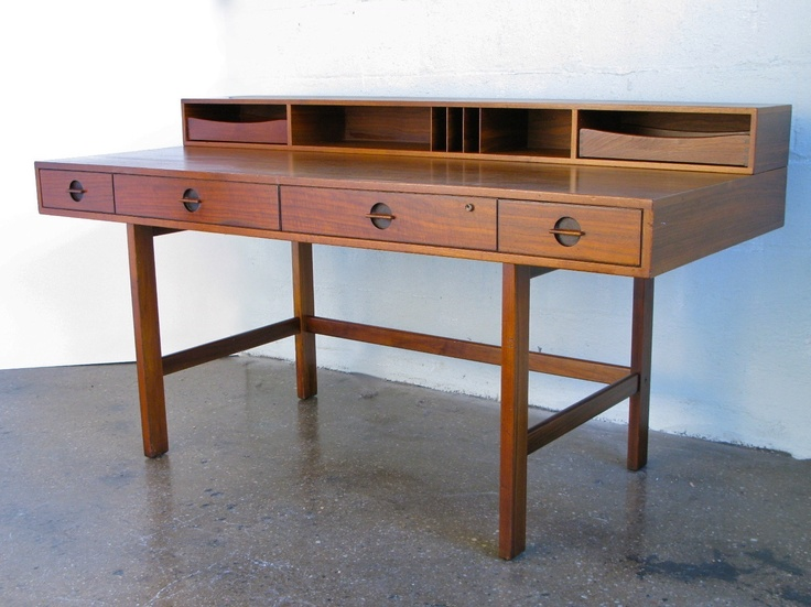 Danish Modern Teak Flip Top Lovig Desk Jens Quistgaard Dansk Designs Denmark Modern, Teak and
