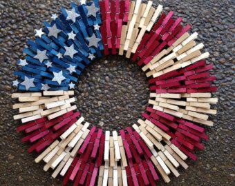 Double flag clothespin wreath