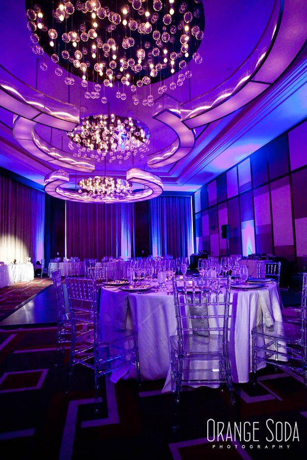 Green Orchid Events Mandarin Oriental Wedding Modern Purple Lights White Dec