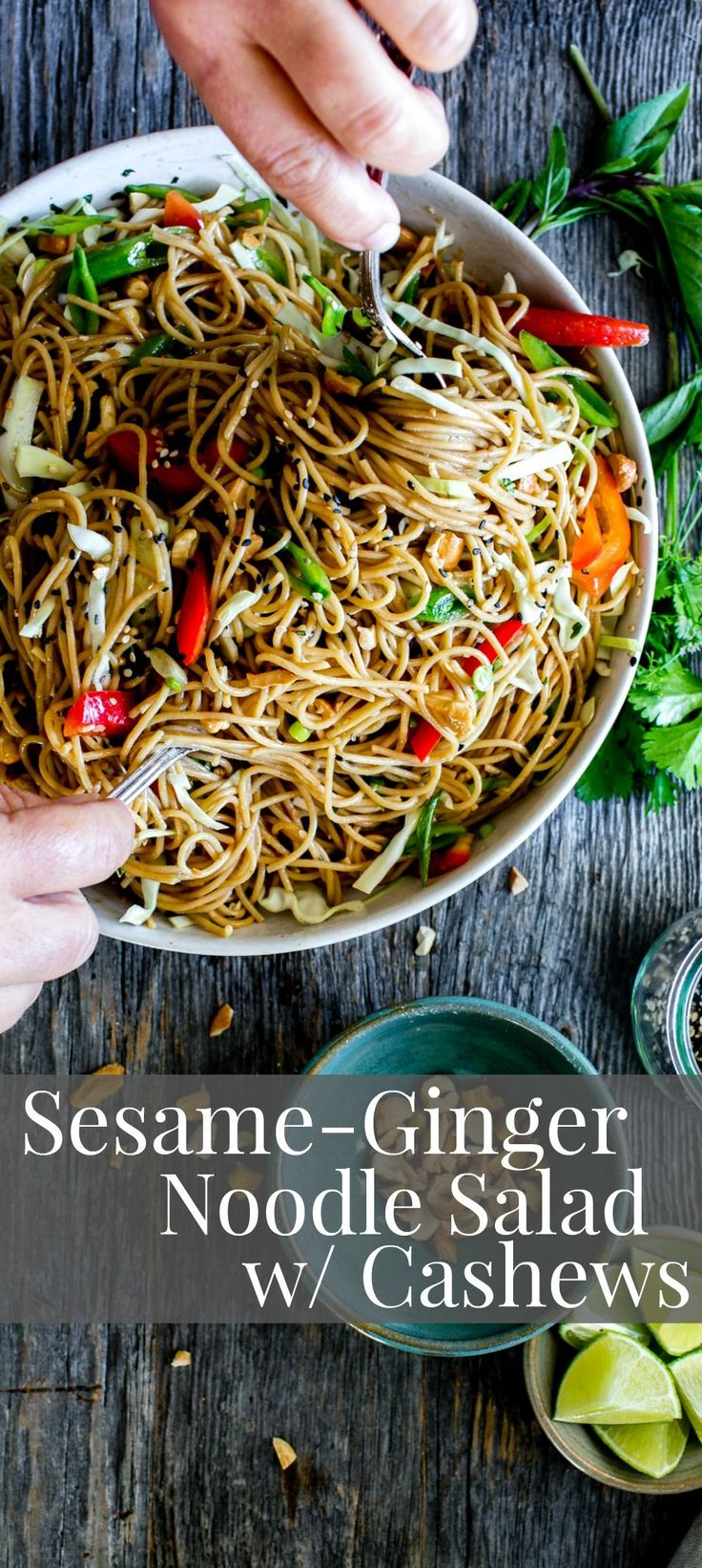 A flavor packed sauce with crunchy veggies, Sesame-Ginger Noodle Salad with Cashews comes together with ease. Make once, eat all week! Vegan + GF