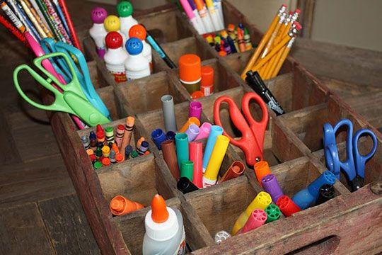Wooden coke crate organizer: Idea, Crafts Rooms, Art Supplies Storage, Kids Crafts, Crafts Organizations, Vintage Sodas, Wooden Crates, Sodas Crates, Crafts Supplies