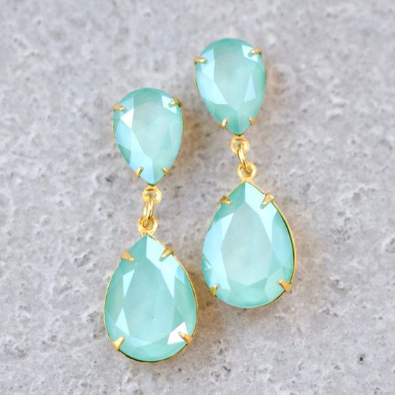 Mint Green Swarovski Crystal Earrings Rhinestone Dangle Pastel Bridesmaids Sea Foam Post Clip On Pear