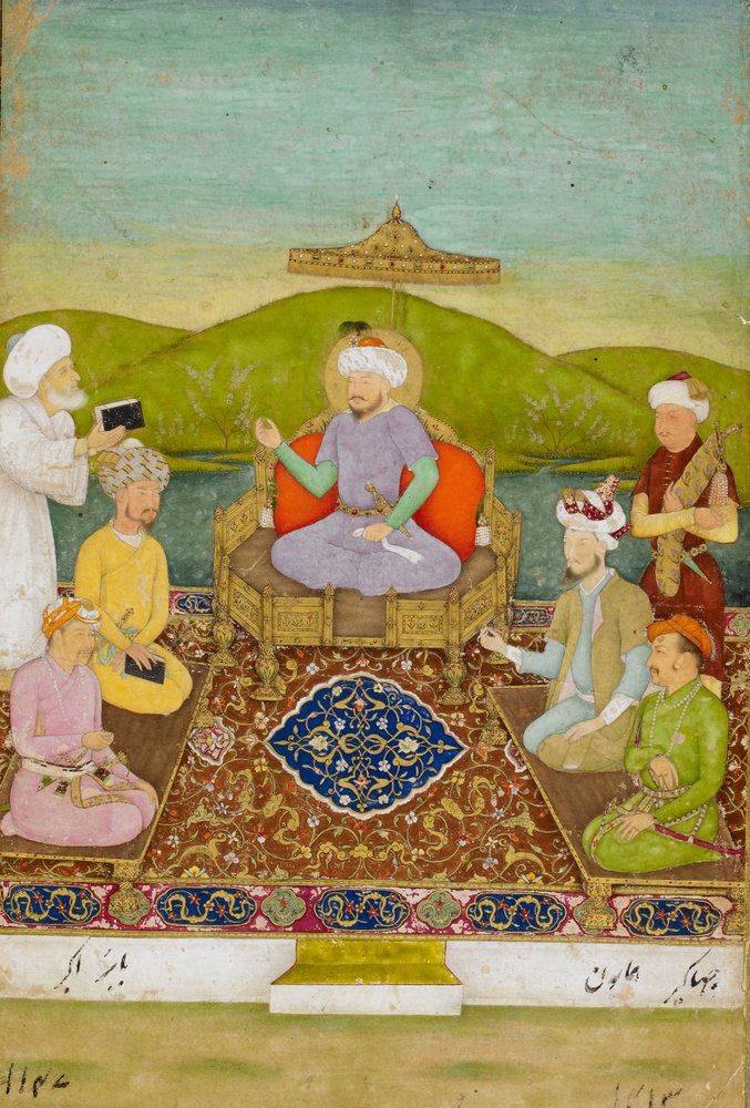 Timur enthroned with his descendants from Babur to Jahangir by Hashim - British Library Prints