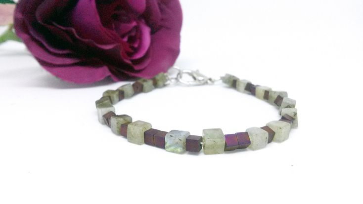 Excited to share the latest addition to my #etsy shop: Minimal Labradorite bracelet with purple Hematite Square Loose Beads https://etsy.me/2HI0vKv #jewelry #bracelet #squarebeads #purple #lightgreen #lobster #gemstonebracelet #hematitebeads #labradorite