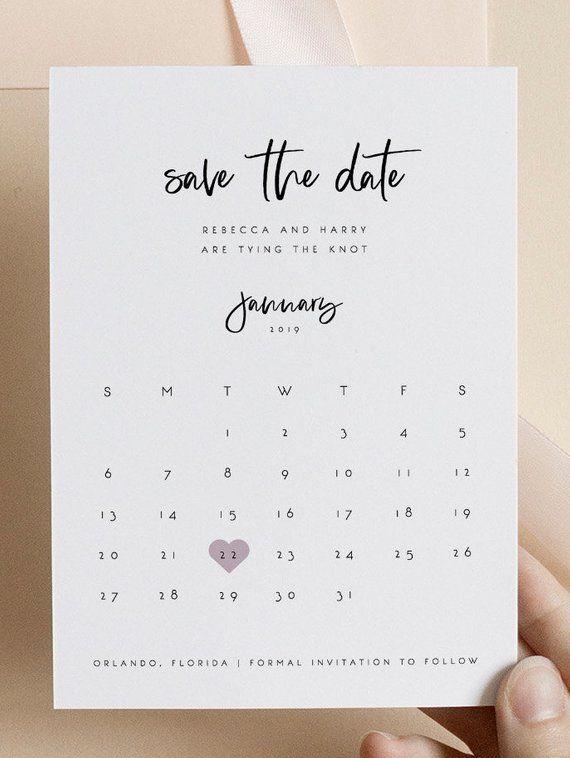 Calendar Save The Date Editable Template Save The Date Etsy In 2021 Save The Date Templates Etsy Wedding Invitations Wedding Printables