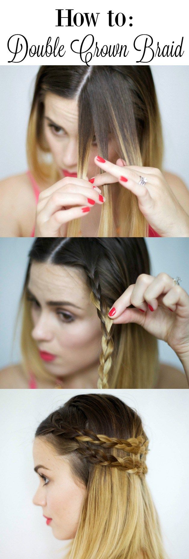 How to: Double Crown Braid • How to braid a double crown for short hair | Uptown with Elly Brown