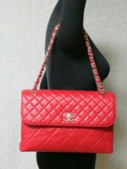 Preowned Chanel Maxi biz flap red #14
