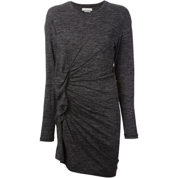 ISABEL MARANT draped dress ($205) ❤ liked on Polyvore featuring dresses, short gray dress, grey long sleeve dress, form fitting short dresses, longsleeve dress and grey wool dress