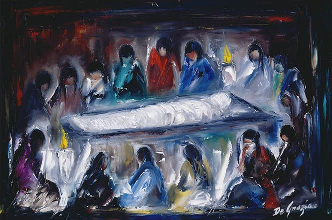 While living in Italy as a small child DeGrazia was exposed to the art of the Catholic Church. Although he never formally participated in church life, this particular series of paintings reflect a deep reverence for all things religious. Instead of the traditional 14 Stations of the Cross, DeGrazia's collection culminates with the resurrection. Station XIV Jesus is laid in the tomb.