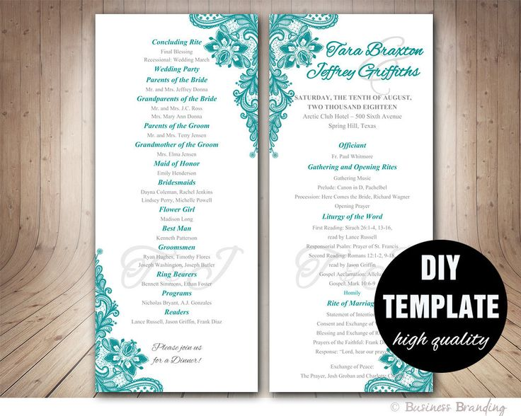 Teal Wedding Program Template - Instant Download Microsoft Word, Teal and Gray,Unique Wedding Program,Lace Wedding Program,Aqua Program by paperfull on Etsy