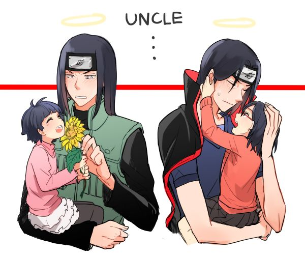 Uncles Neji and Itachi with Himawari and Sarada. *sniff* No, I'm not crying. There's just feels in my eye...