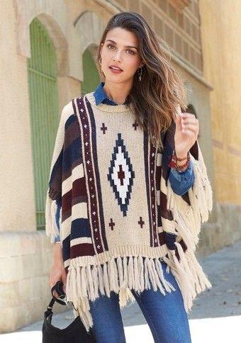 Pončo pulovr s třásněmi a etno vzorem #ModinoCZ