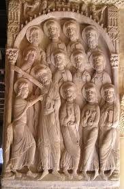 DUDA DE SANTO TOMÁS   Es un relieve con un tema religioso extraído de los evangelios. Cristo resucitado reúne a sus discípulos. Pero Santo Tomás duda de la veracidad de la resurrección y le introduce los dedos en la herida. Es una escultura románica del siglo XI.
