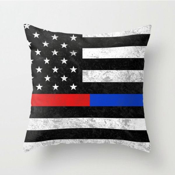 fire police throw pillow cover thin blue line thin red line rectange