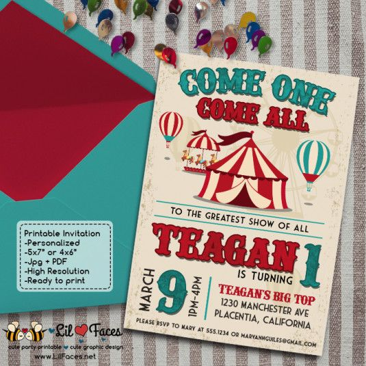 Vintage Circus Carnival Birthday Party invitations DIY Circus printable invite