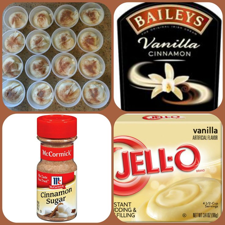 Baileys Vanilla Cinnamon Pudding Shots  1 small Pkg.vanilla instant pudding 3/4 Cup Milk 3/4 Cup Vanilla Cinnamon Baileys Irish cream cinnamon sugar 8oz tub Cool Whip  Directions 1. Whisk together the milk, liquor, and instant pudding mix in a bowl until combined. 2. Add cool whip a little at a time with whisk. 3.Spoon the pudding mixture into disposable shot cups or 1 or 2 ounce cups with lids. 4. Sprinkle with cinnamon sugar and place in freezer for at least 2 hours