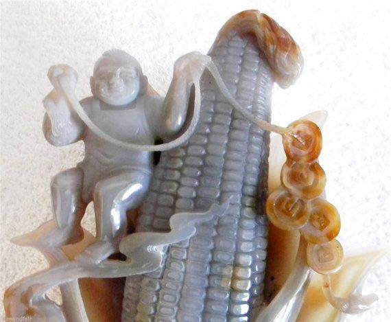 Oriental large carved jade figurine corn ear with by RareAndFair